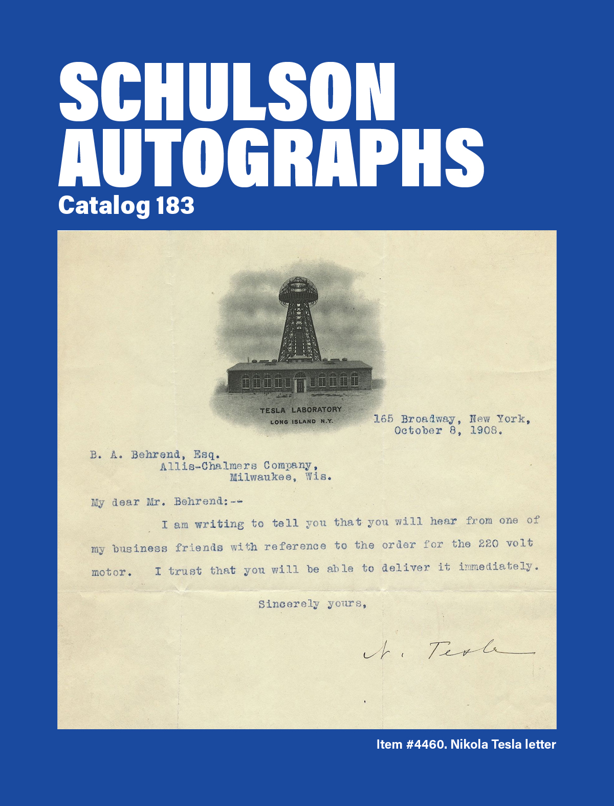Catalog 183 Tesla Cover
