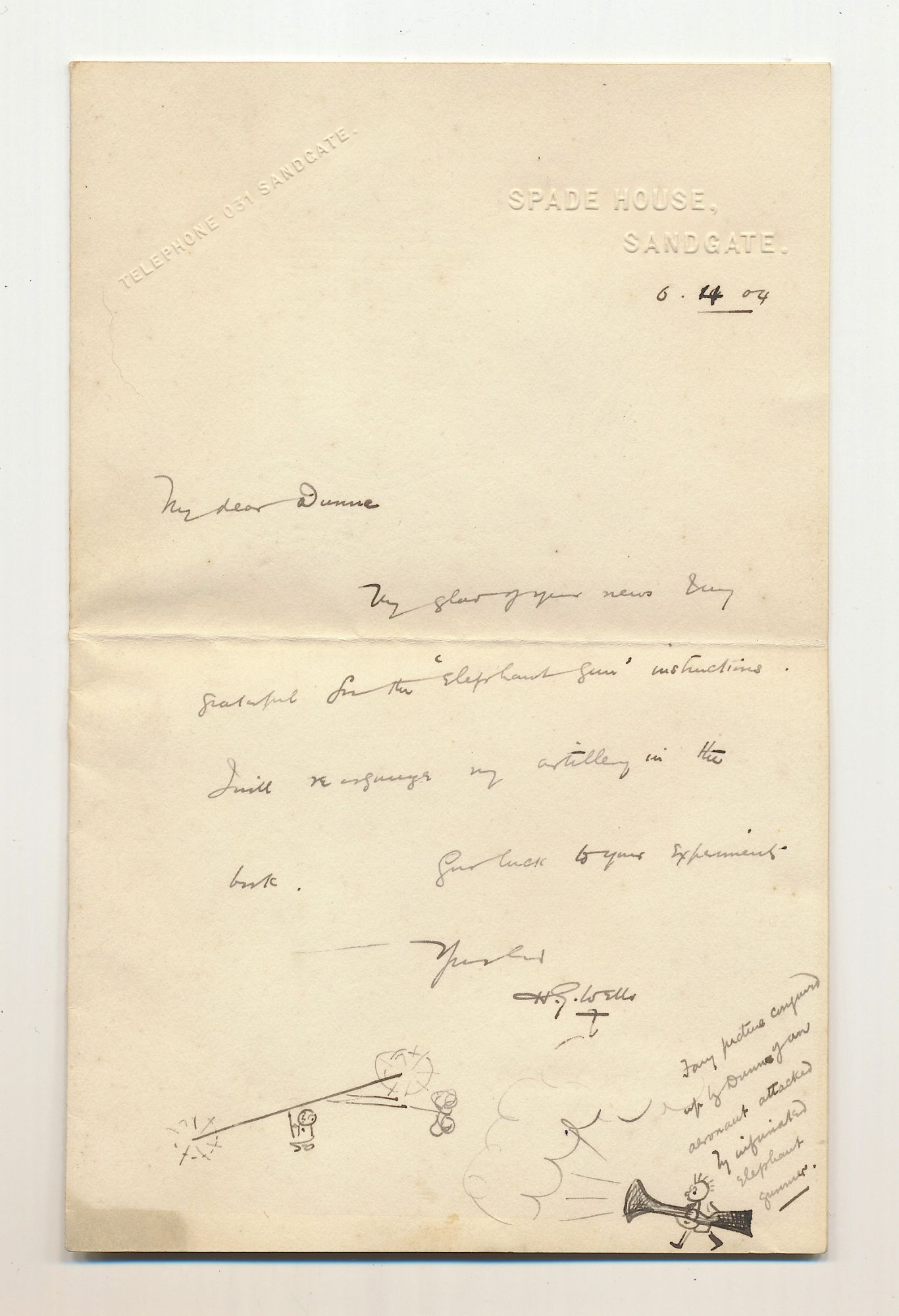 picture relating to Embossed Stationery referred to as Illustrated Autograph Letter Signed, upon blind embossed customized stationery, Sandgate, April 6, 1904 as a result of H. G. WELLS upon Schulson Autographs