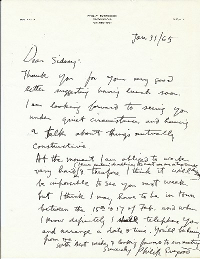 Autograph Letter Signed, 4to, on personalized stationery, Bridgewater, Connecticut, January 31, 1965. PHILIP EVERGOOD.