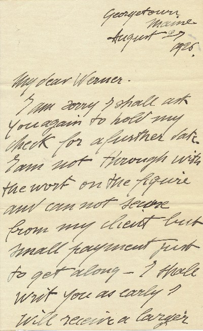 Autograph Letter Signed, 8vo,2 pp., Georgetown, Maine, August 27, 1926. GASTON LACHAISE.