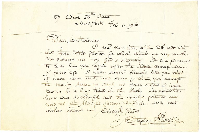 Autograph Letter Signed, 8vo, on fine stationery stock, New York, NY, February 1, 1916. STEPHEN MAXFIELD PARRISH.