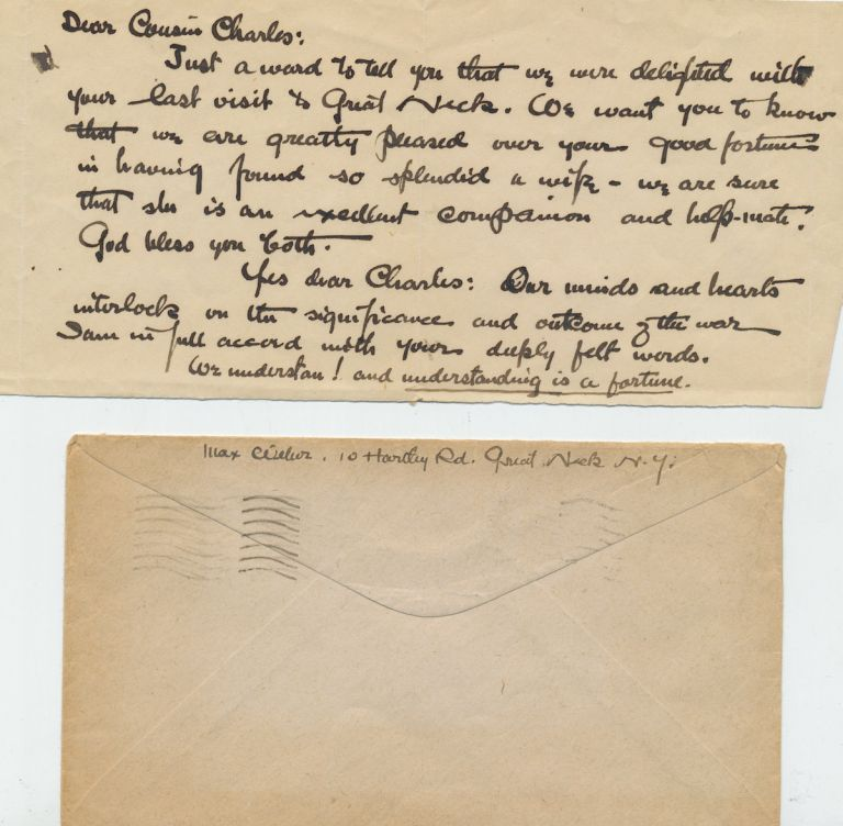 Autograph Letter, 8vo, Great Neck, NY, September 17, 1944, with signature on transmittal envelope. MAX WEBER.
