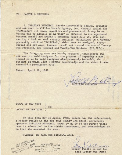 Typed Documents Signed, 4to, 5pp, William Morris Agency, New York, NY April , 18, 23 and 28, 1958. TALLULAH BANKHEAD.
