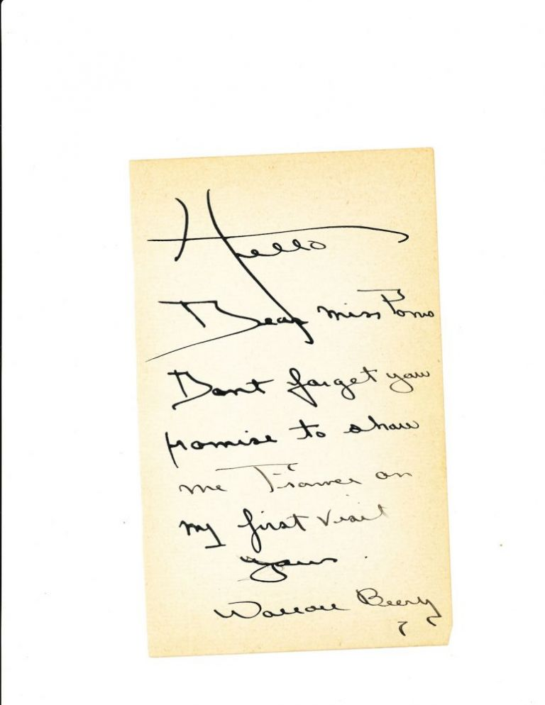Autograph Letter Signed, 8vo, on 2 sheets, n.p., n.d. WALLACE BEERY.