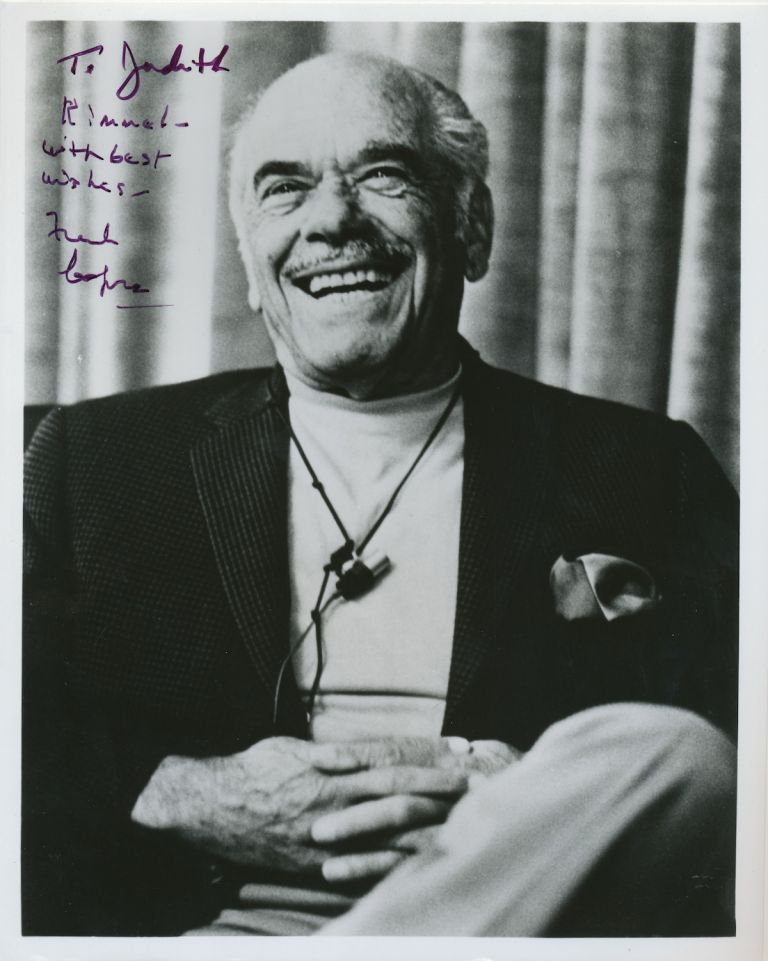 Photograph Signed, 4to, n.p., n.d. FRANK CAPRA.