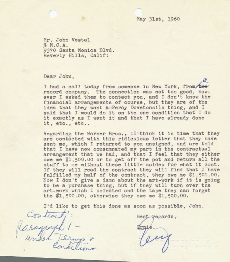 Typed Signed Letter, 4to, Beverly Hills, CA. May 31, 1960. ERNIE KOVACS.