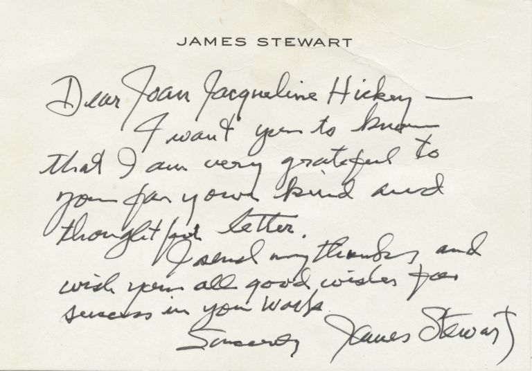 Autograph Letter Signed, on personalized note card stationery, Beverly Hills, CA., February 11, 1988. JAMES STEWART.