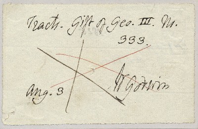 Autograph Document Signed, 12mo, n.p., August 3, dated 1825 on verso. WILLIAM GODWIN.