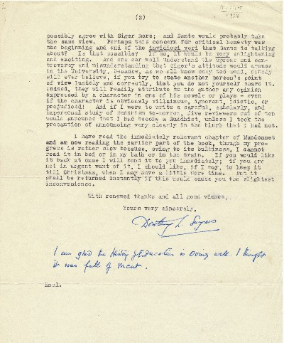 Typed Letter Signed, 4to, 2 pp on separate sheets., Witham, England, December 14, 1948. DOROTHY L. SAYERS.