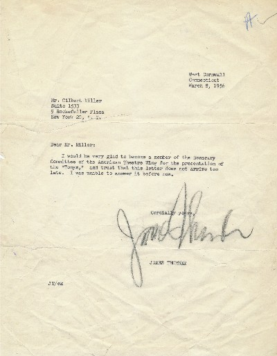 Typed Letter Signed, 4to, West Cornwall, Connecticut, March 8, 1956. JAMES THURBER.
