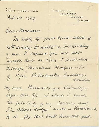 "Autograph Letter Signed, 8vo, 2pp., on personalized stationery, ""Greenfield"" Manor Road, Sidmouth, S. Devon, England, February 15, 1937. AMBROSE J. FLEMING."