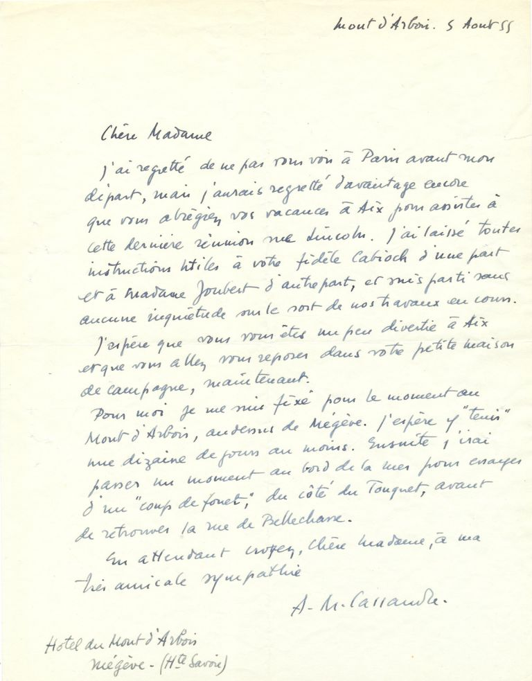 Autograph Letter Signed, in French, 4to, Hotel du Mont d'Arbois, Niegeve, France, August 5, 1955. ADOLPHE MOURON CASSANDRE.