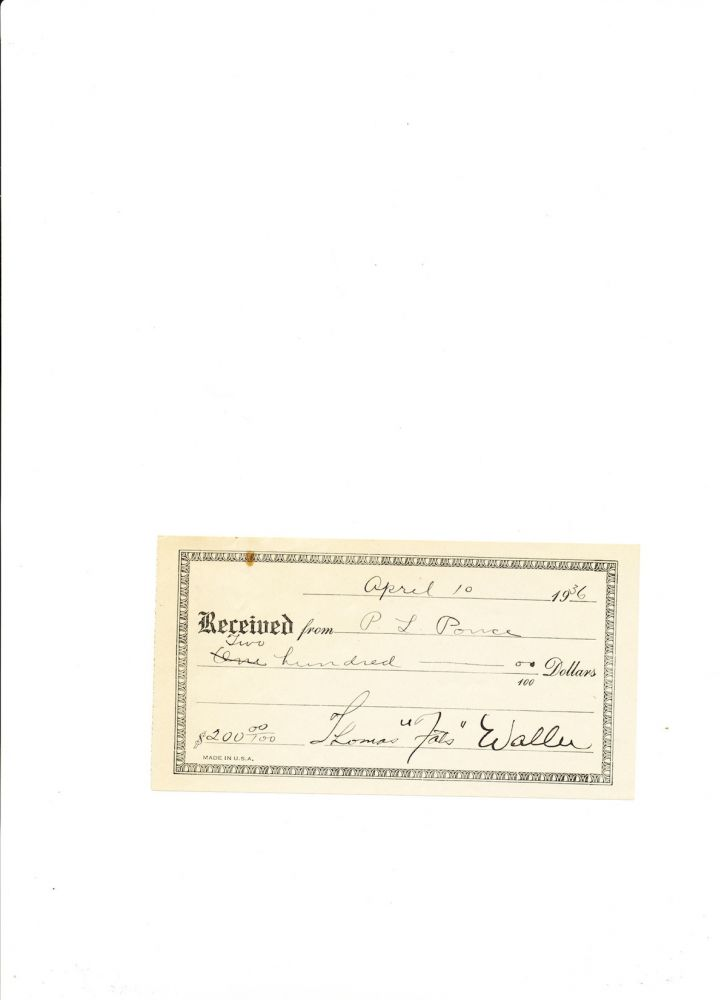 Printed Document Signed, small 8vo, n.p., April 10, 1936. THOMAS 'FATS' WALLER.