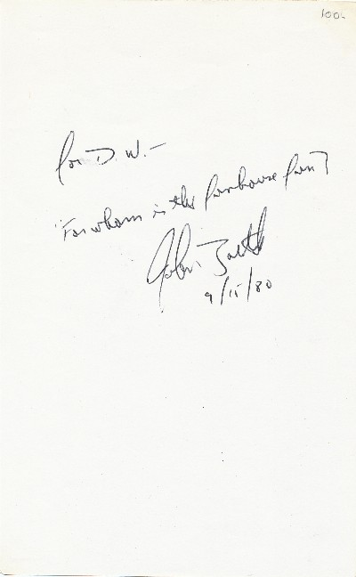 Autograph Note Signed, 8vo, n.p., September 15, 1980. JOHN SIMMONS BARTH.