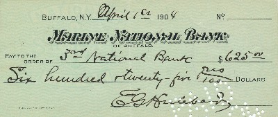 Document Signed, 8vo oblong, Marine National Bank, Buffalo, New York, April 1, 1904. ELBERT HUBBARD.