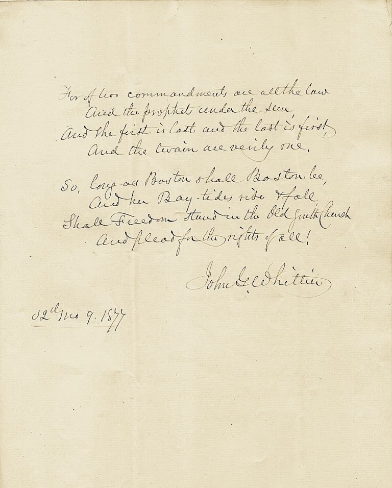 Excellent and scarce Autograph Manuscript Signed, 4 pages 4to, n.p., Sept. 1877. JOHN GREENLEAF WHITTIER.