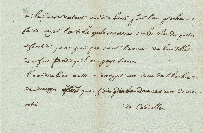 Autograph Letter Signed, in French, 8vo, n.p., n.d. AUGUSTIN PYRAMUS DE CANDOLLE.