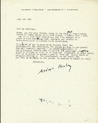 Typed Letter Signed, with numerous holograph insertions, corrections and editing marks, 4to, Los Angeles, July 1, 1950. ALDOUS HUXLEY.