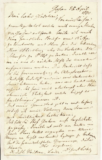 Autograph Letter Signed, in German, 8vo., Giessen, 25th April 1850 laid down on conjugate blank. JUSTUS FREIHERR VON LIEBIG.