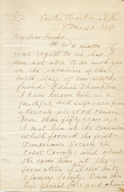 Autograph Letter Signed, three pages 8vo, Centre Harbor, N.H. Written as Quaker date of 7th mo., 20, 1887 (July 20, 1887). JOHN GREENLEAF WHITTIER.