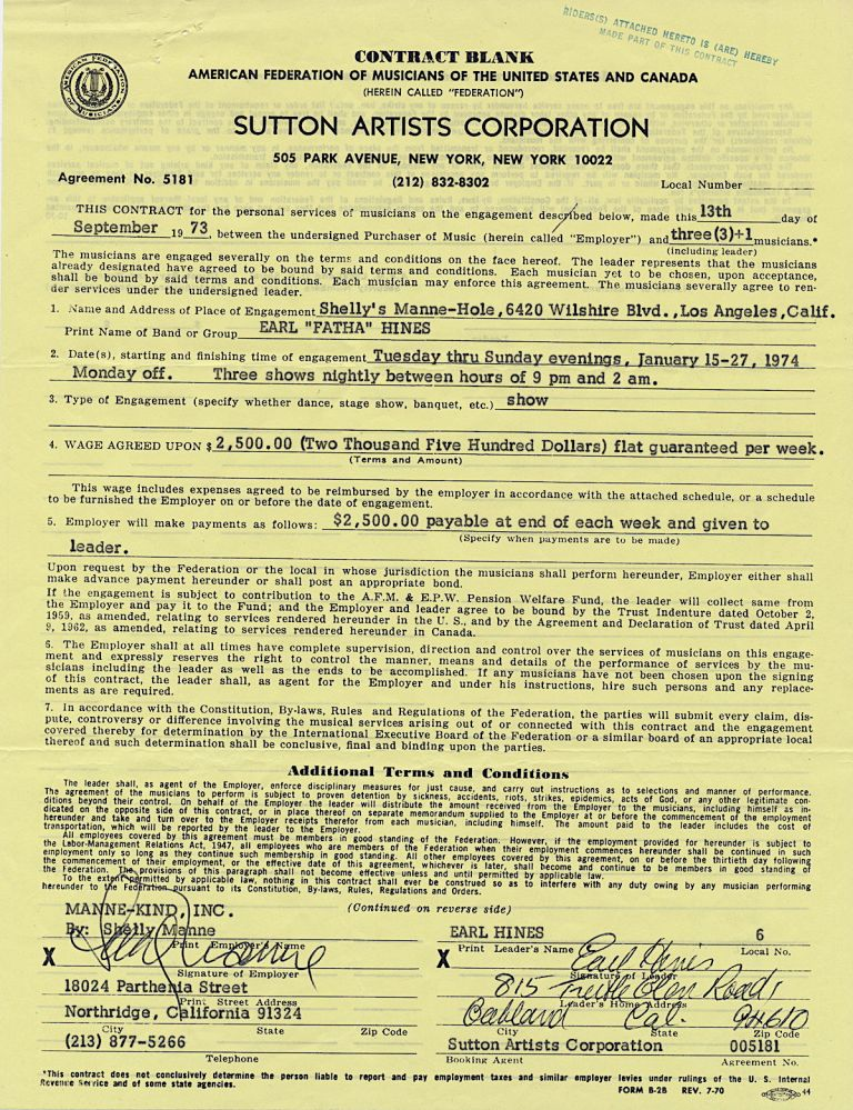 "Typed and printed Document Signed, on a ""Sutton Artist Corporation"" contract, 4to, Ca. Sept 13, 1973. EARL ""FATHA"" HINES."