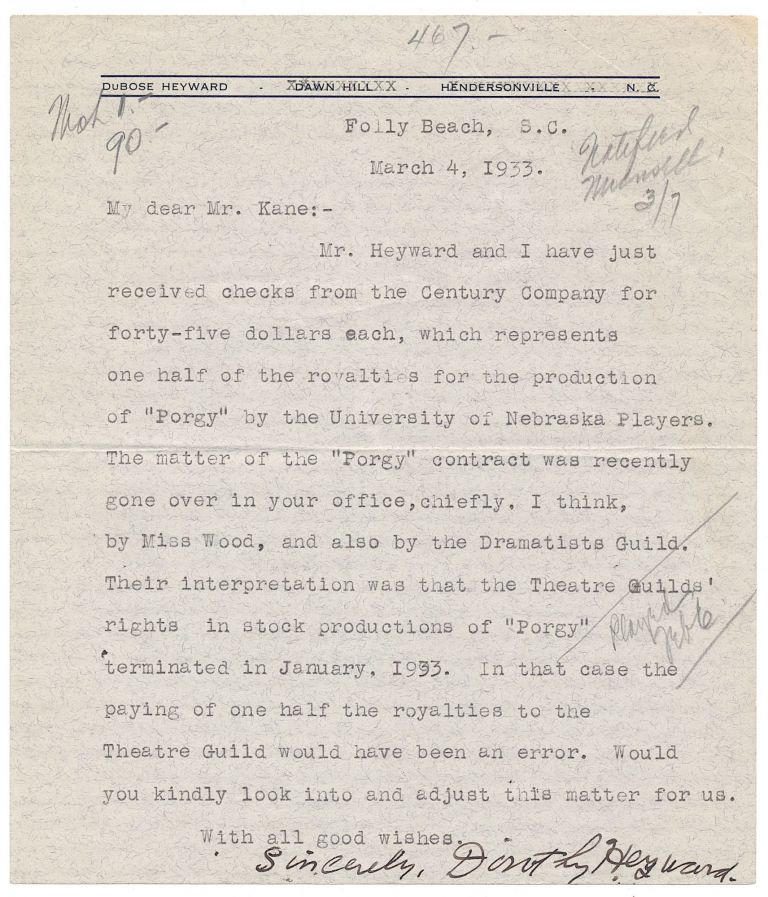 """Porgy and Bess"" related Typed Letter Signed, 8vo, Folly Beach, S.C., March 4, 1933. DOROTHY HEYWARD."
