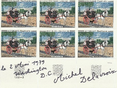 Signed sheet of 6 French postage stamps, Washington D.C. 8vo, May 2, 1979. MICHAEL DELACROIX.
