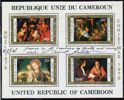 Three items: Signed block of 4 postage stamps of the Republic of Cameroon, Christmas collection, 8vo, Christmas 1976. Signed print, 4to, n.p., n.d.; Signed Post Card Reproduction, 8vo, n.p.,n.d. ERNST FUCHS.