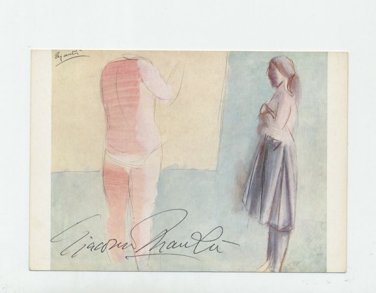 Signed Post Card Reproduction, 8vo, n.p., n.d. GIACOMO MANZU.