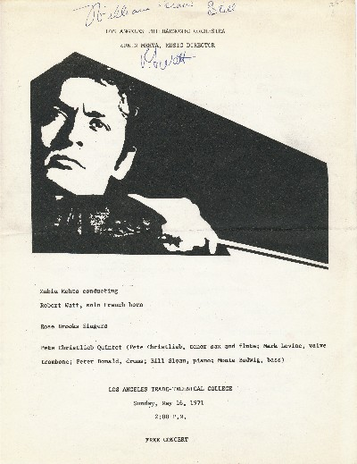 Concert Program Signed, 4to, 2pp, n.p., n.d. but (Los Angeles, May 16, 1971). GRANT WILLIAM WATTS STILL, ROBERT.