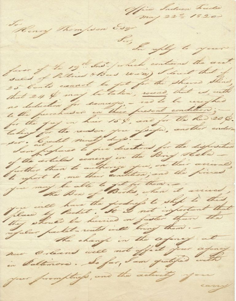 """Scarce A.L.S., 4to, 2pp on one sheet, hand written """"Office Indian Trade"""", May 22, 1820. THOMAS L. McKENNEY."""