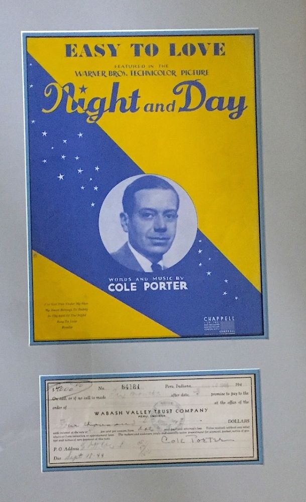 "Printed and manuscript D.S., oblong 8vo, Peru, Indiana, March 18, 1944, framed with sheet music for ""Easy to Love"" from the film, ""Night and Day, "" Chappell & Co., Inc. (1936). COLE PORTER."