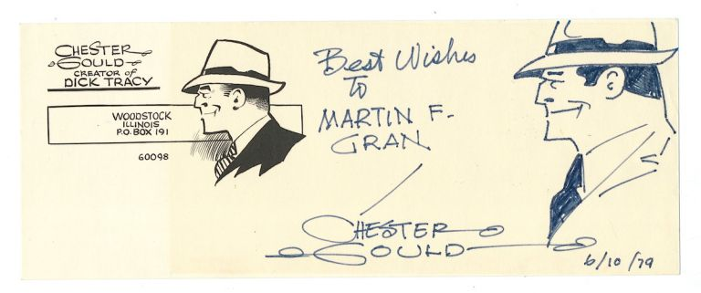 DICK TRACY. Original pen and ink drawing on a printed Dick Tracy stationery card, oblong 8vo, Woodstock, Illinois, June 10, 1979. CHESTER GOULD.