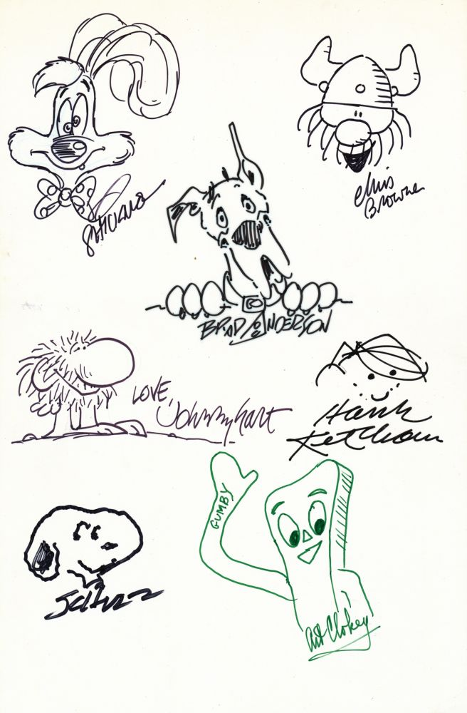 Signed Original Cartoon Sketches by various artists on one 4to white board. CARTOON ART.
