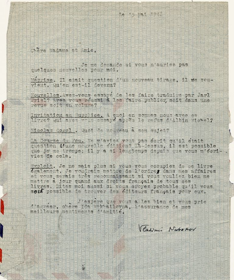 """""""Lolita"""" author wrote and signed this Typed Letter , in French, regarding six of his books. One page, on integral address leaf stationery. 4to, Cambridge, Mass. May 15, 1948. VLADIMIR NABOKOV."""
