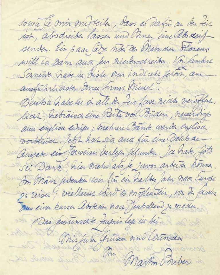 Autograph Letter Signed, in German, two pages on one 4to sheet, Deir Abou Tor, Jerusalem, November 30, 1946. MARTIN BUBER.