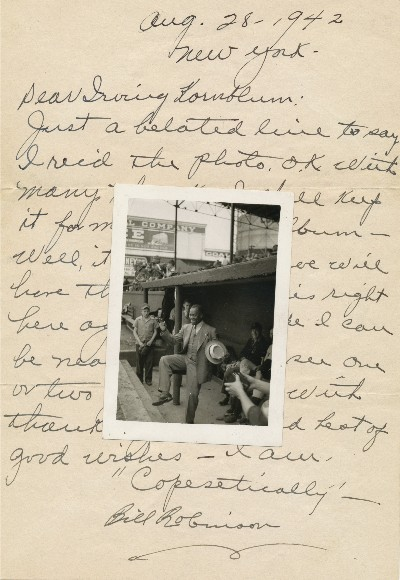 "Scarce Autograph Letter Signed with Baseball content and original unsigned 12mo photograph, 4to, New York, Aug. 28, 1942. Baseball Negro Leagues, BILL ""BOJANGLES"" ROBINSON."
