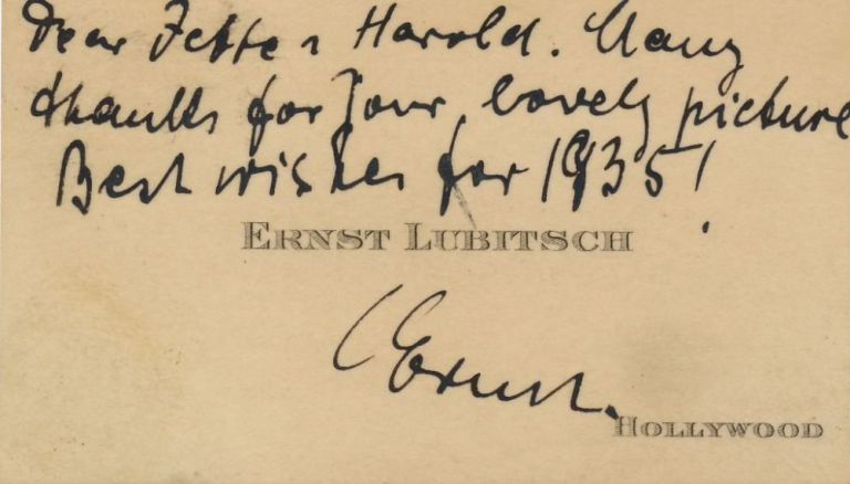 Autograph Note Signed on his visiting card, printed Hollywood, 1935. ERNST LUBITSCH.