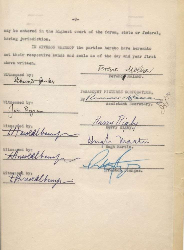 Document Signed, 9 pp, 4to, August 28, 1950, New York City. PRESTON STURGES.