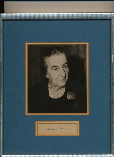Signature framed with classic photograph of Meir, both double matted, frame is approximately 9 inches X 11 inches. GOLDA MEIR.