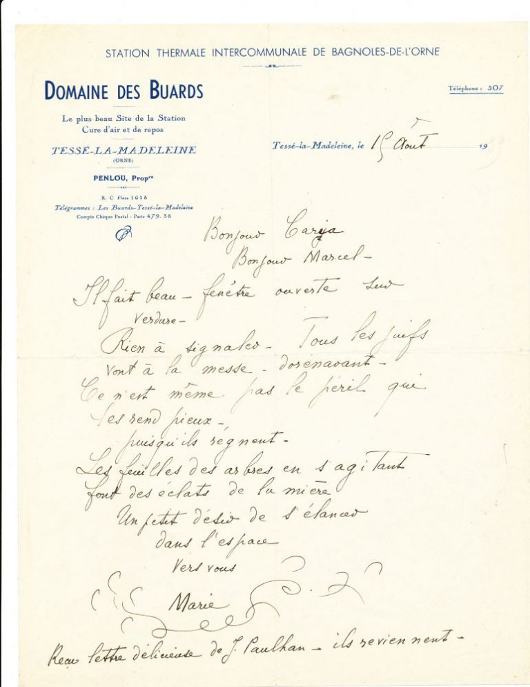 """Autograph Letter Signed, in French, on """"Domaine Des Buards"""" stationery, 4to, Bagnoles, August 19, 1939. MARIE LAURENCIN."""