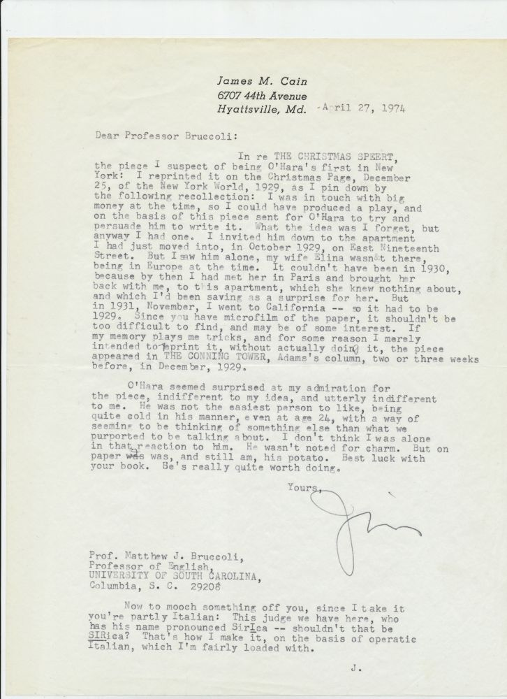 Typed Letter Signed, 4to, Hyattsville, Maryland, April 27, 1974. JAMES M. CAIN.