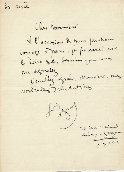Autograph Letter Signed, in French, 8vo, n.p., April 30, n.y. LOUIS LEGRAND.