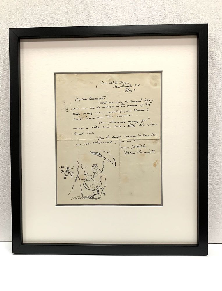 Self portrait within an Illustrated Autograph Letter Signed, New Rochelle, May 2. FREDERIC REMINGTON.