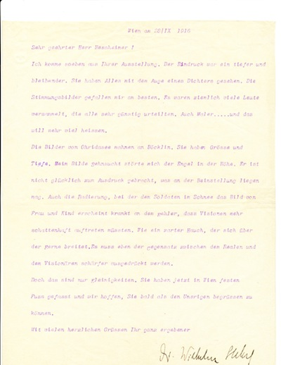 Typed Letter Signed, in German, 4to, Vienna, Oct. 28, 1916. WILHELM STEKEL.