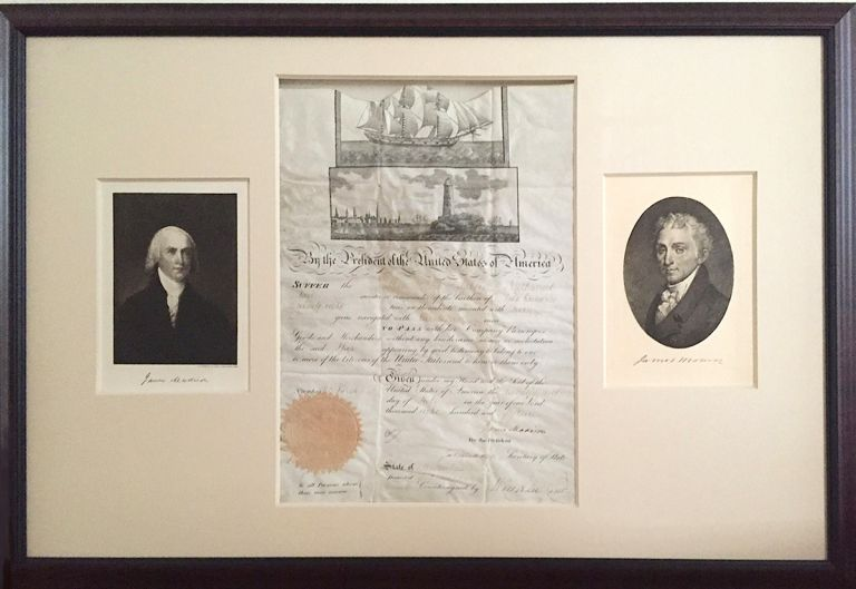Visually Outstanding Presidential Document Signed by Two Founding Fathers of the US, James Madison as President and James Monroe as Secretary of State on parchment, folio, Washington, July 24, 1815. Framed to show both sides of the presidential document, with photogravure of each president. Archival materials used. JAMES MADISON, JAMES MONROE.