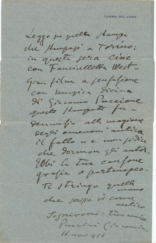 """Humorous Autograph Letter with two signatures, in Italian, on printed """"Torre del Lago"""" integral address leaf stationery, narrow 4to, Nov, 16, 1916. GIACOMO PUCCINI."""