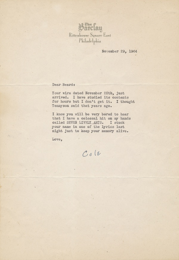 Lyric cole porter lyrics : COLE PORTER | Typed Letter Signed, 4to, on The Barclay hotel ...