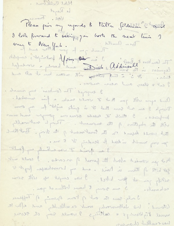 Autograph Letter Signed, 2 pp on one 4to sheet, Hotel Bellevue, Var, France, Aug. 13, 1947. RICHARD ADDINSELL.