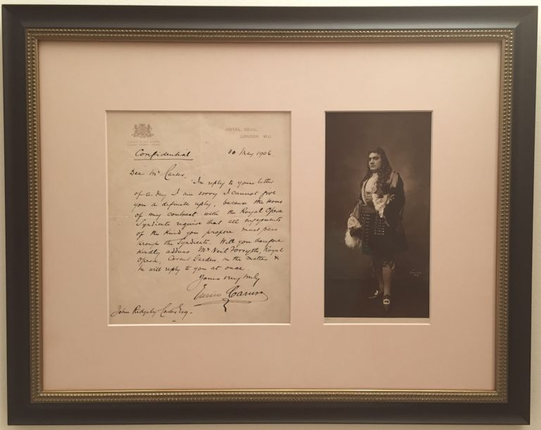 "Autograph Letter Signed, in English, on emblematic, ""Hotel Cecil"" stationery, 4to, London, May 30, 1906. ENRICO CARUSO."